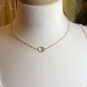 Gold Tone Necklace White Topaz Pendant, Pearls